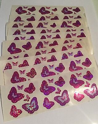 Sandylion Pink and Purple Butterflies Stickers lot of 9 SHEETS size 2