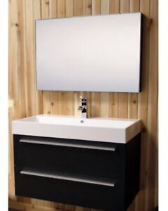 """36"""" bathroom vanity with stone basin and mirror and faucet"""
