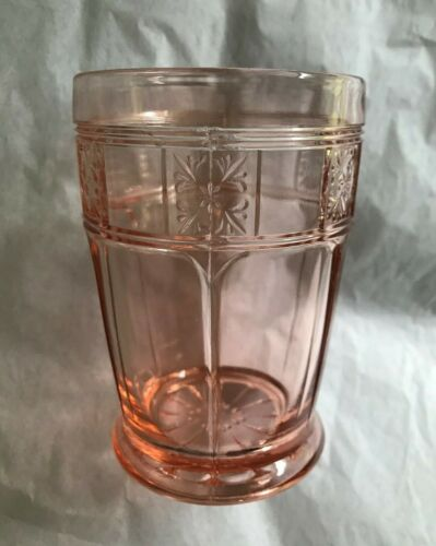 "Jeannette Glass ~ Doric and Pansy ~ 4"" Footed Pink Tumbler"