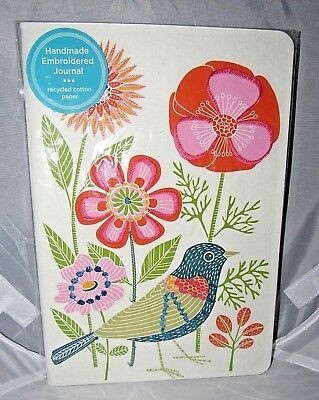 GENINNE ZLATKIS ART AVIAN FRIENDS BLUE BIRD BLOOMS HANDMADE EMBROIDERED JOURNAL
