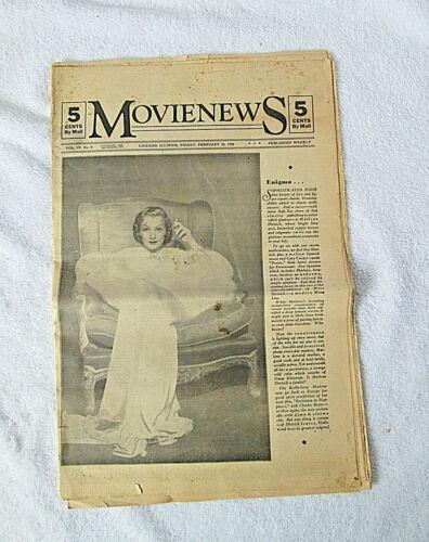 1936 Chicago, Illinois MovieNews Newspaper Marlene Dietrich Cover