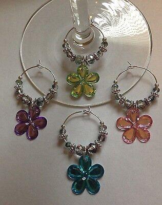 acrylic flowers set of 4 wine glass charms