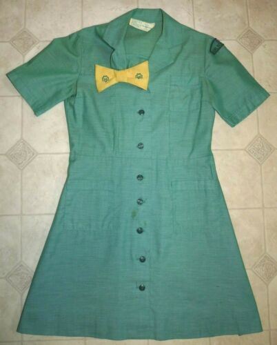 Vintage Girl Scouts USA Green Uniform Short Sleeve Dress with Yellow Bow