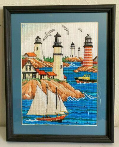 Framed Sailboat Art Lighthouse Ocean Lake Town River Boat Cross Stitch Landscape