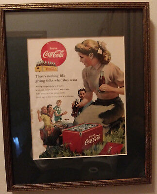 Coca Cola Framed Print Ad 1952 There's nothing like giving folks what they want