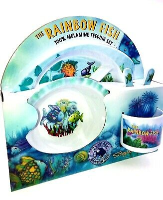 Melamine Dish Set Kids Rainbow Fish Stephan Baby Children's Complete Feeding 5pc (Melamine Baby Dish Set)