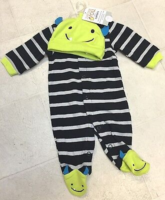 NEW INFANT NEWBORN CARTER'S MONSTER MY FIRST HALLOWEEN COSTUME GREEN  HAT TWIN