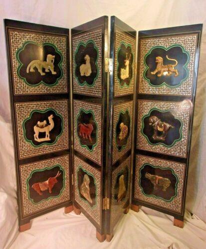 Mid century ASIAN folding room screens/divider 15x48x1