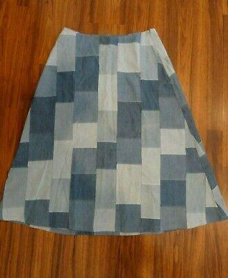 New COREY LYNN CALTER LINDA A-Line Denim Patch Skirt
