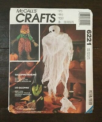 McCalls Crafts Galloping Goblins Halloween Decorations Ghost Witch 6221 Uncut  (Halloween Decoration Crafts Adults)