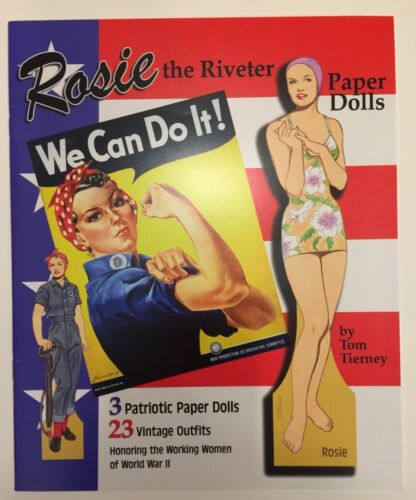 ROSIE THE RIVETER Paper Doll Book--3 Patriotic Paper Dolls, 23 War Era Outfits