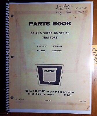 Oliver 88 Super 88 Tractor Parts Book Catalog Manual S1-9-k5 957