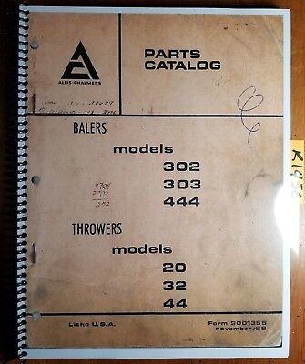 Allis-chalmers 302 303 444 Baler 20 32 44 Thrower Parts Catalog Manual 9001355