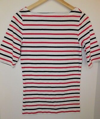 NWT GAP Women's Favorite Boat Neck Red/Dark Blue Striped T-Shirt XS S M MSRP$25