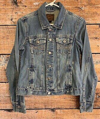 Aeropostale Womens Denim Jacket Distressed Blue Jean Button All Cotton Sz Medium