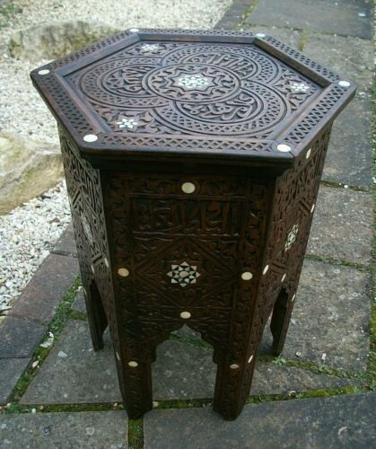 SUPERB  ANTIQUE  ISLAMIC HEXAGONAL WOODEN INLAID SIDE TABLE