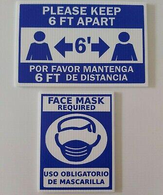 19covid Corrugated Plastic White Sign Spanishenglish