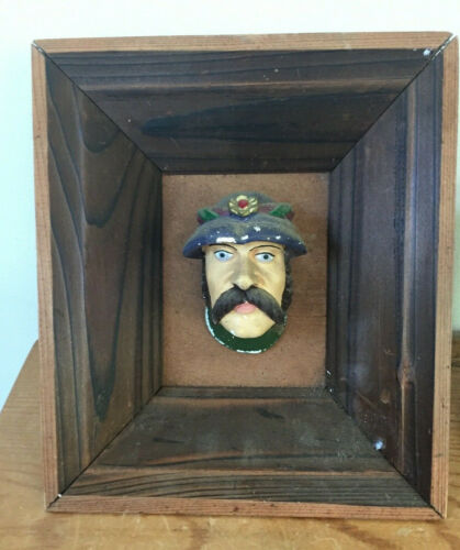 Vtg Wawel Castle Carved Male Head Plaster Wood Frame Art Souvenir Krakow Poland
