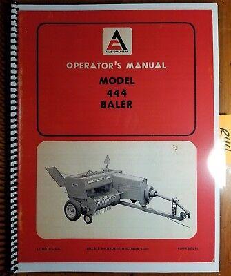 Allis-chalmers 444 Baler Owners Operators Manual 565218