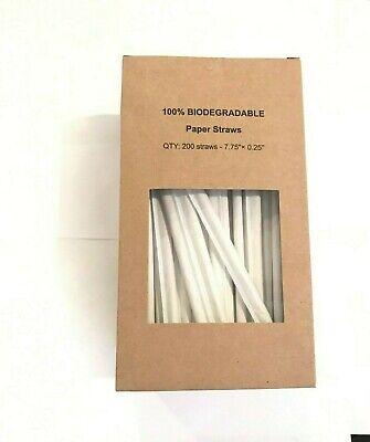Paper Drinking Straws (Wrapped Paper Straws Biodegradable – Premium 200 Brown Kraft Dye-Free Drinking)