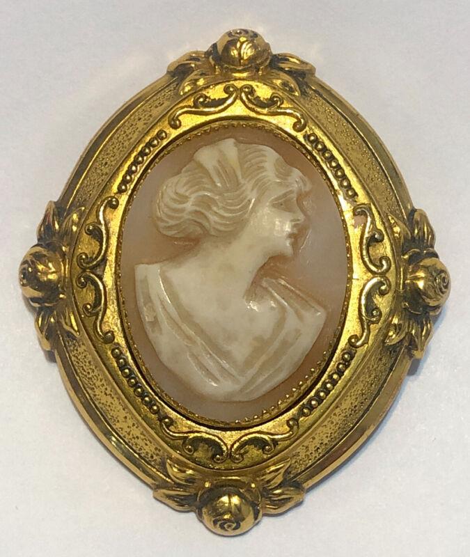 Vintage Victorian Revival Genuine Shell Cameo Pin Brooch sku121399