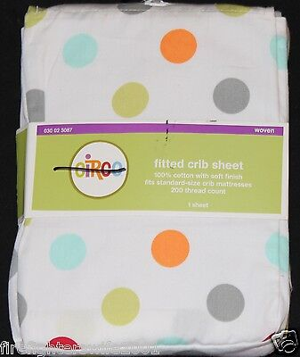 Circo Multi Color Circles Dots Fitted Crib Sheet toddler bed sheet 878, used for sale  USA