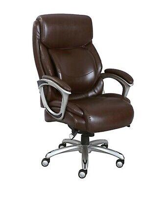 La-z-boy Big Tall Bonded Leather Executive Office Chair W Wheels Brown Nib