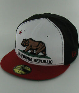 California-REPUBLIC-BK-BR-BK-SC-Bear-Black-Red-New-Era-59Fifty-Fitted-Hats-Caps