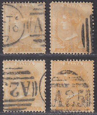 Malta 1863-84 Queen Victoria ½d Selection Used inc perf 14 x 12½