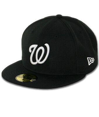 New Era Washington Nationals BK WH BK Fitted Hat (Black/White) Men's 59Fifty Cap