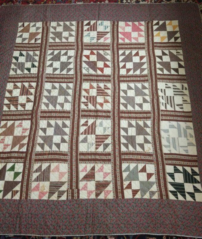Antique American Patchwork Quilt Handstitched Great Fabrics & Color