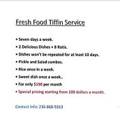 FRESH FOOD TIFFIN SERVICE STARTING $100/months