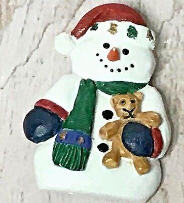 Christmas Snowman Ceramic Pin Brooch