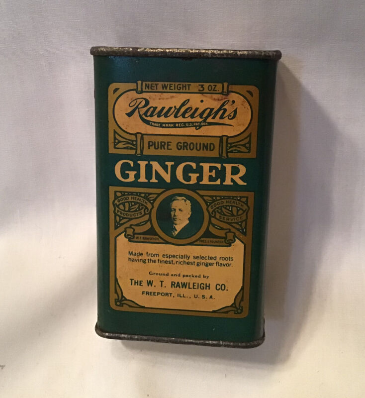 Vintage Rawleighs Pure Ground Ginger Spice Tin Collectible Advertising Freeport