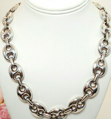 Vintage Fine Jewelry Gucci Mariner LARGE Link Sterling Silver Necklace 24""
