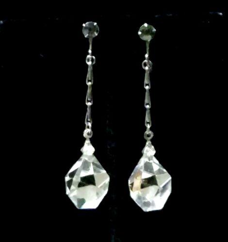 Vintage Art Deco Rock Crystal Earrings Faceted Stars Long Dangle Screw Back 20