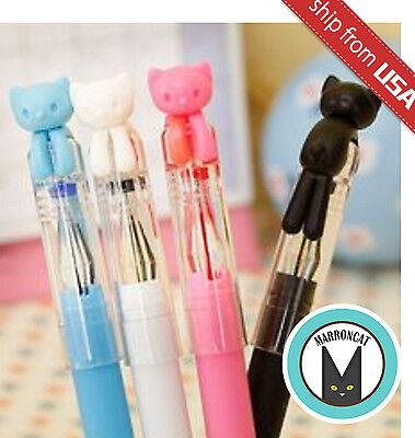 Lot 4pcs Cute Korean Cat Kitty 0.38mm Gel Ink Ball Point Pens Office Supply Cute