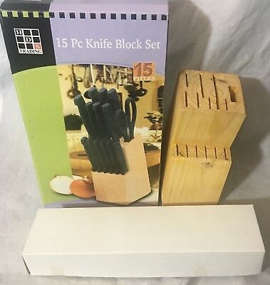 15 Piece Knife Block Set  Wood Block  HDS Trading  New in Box  Great Gift!