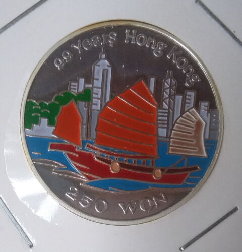 1996 Korea 250 Won, 99 Years Hong Kong, Silver 999, Colour, Proof Scarce Coin !!
