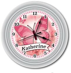 Pink Butterfly PERSONALIZED Wall Clock - Girls Bedroom Kitchen Home GREAT GIFT