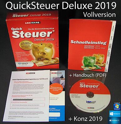 Lexware QuickSteuer Deluxe 2019 Vollversion Box CD Handbuch+Konz Steuerjahr 2018
