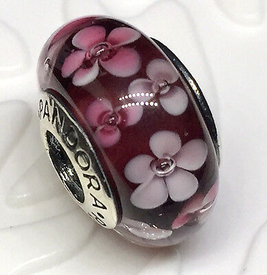 NEW Authentic Pandora 925 silver murano bead charm red  flower