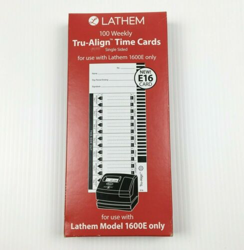Lathem E16 Weekly Tru-Align Time Cards for 1600E - 100 Pack