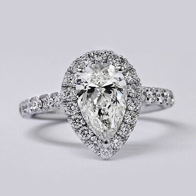 NATURAL 1.70 Ct. Pear Cut Diamond Engagement Ring Set F, VS1 GIA U-Pave 1