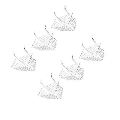 6pc 12x 6x 6 Narrow Deep Basket Display White Metal Wire Slatwall Gridwall