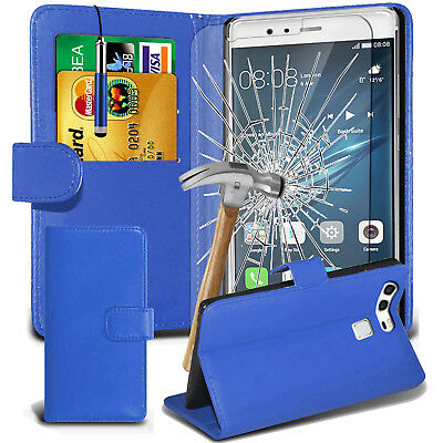 Leather Wallet Book Case Cover For Motorola phones Moto E4 Plus & Tempered Glass