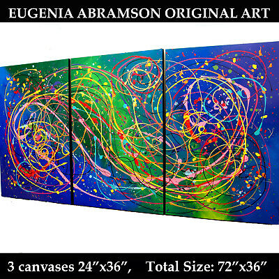 ABSTRACT GIANT WALL ART Original Fine Acrylic Painting Stretched Canvases 72
