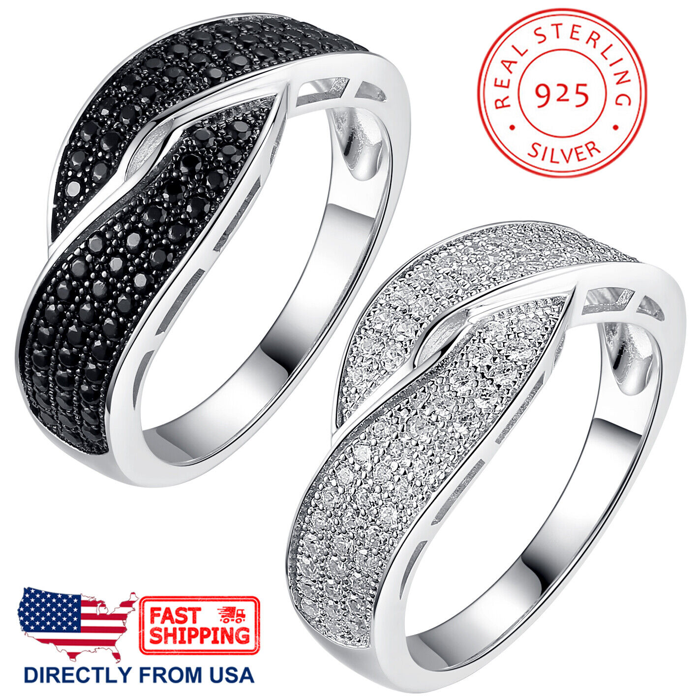 Women's Sterling Silver Crisscross Micro Pave Cubic Zirconia Cocktail Ring Fine Jewelry