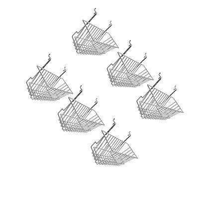 6pc 12x 6x 6 Narrow Deep Basket Display Chrome Metal Wire Slatwall Gridwall