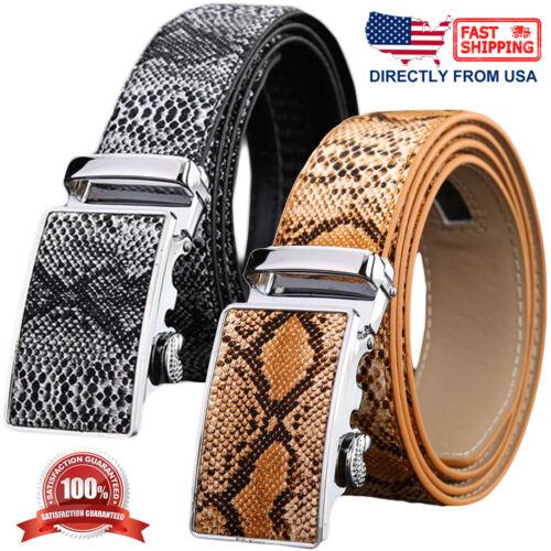 Mens Genuine Leather Snake Skin Embossed Automatic Buckle Ratchet Belt